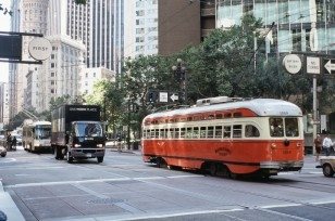 vintage trolley in San Francisco, CA