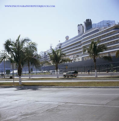 Cruise ships ancored along street in Puerto Vallarta, like floating hotels